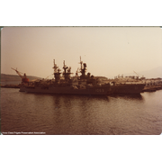 Bagley (FF-1069) Meyerkord (FF-1058) and Sterrett (CG-31) in Subic Bay, PI (© November 1981 by MTFrazier (USS Tarawa) via Doug Evans)