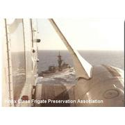 View of Sims from Sea King Helo from USS Kennedy 1976