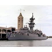 USS HArold E. Holt docked alongside the Aloha Tower - FamTrip 07July1985