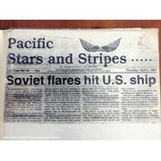 April 1984 Stars&Stripes article on Soviet carrier Minsk firing flares at FF-1074