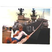 STG2 Randy Rema with the HEH tied up alonside Bravo Pier, Pearl Harbor, 1983