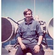 Me posing in front of the BPDSMS director in 1974. Radar was off!.